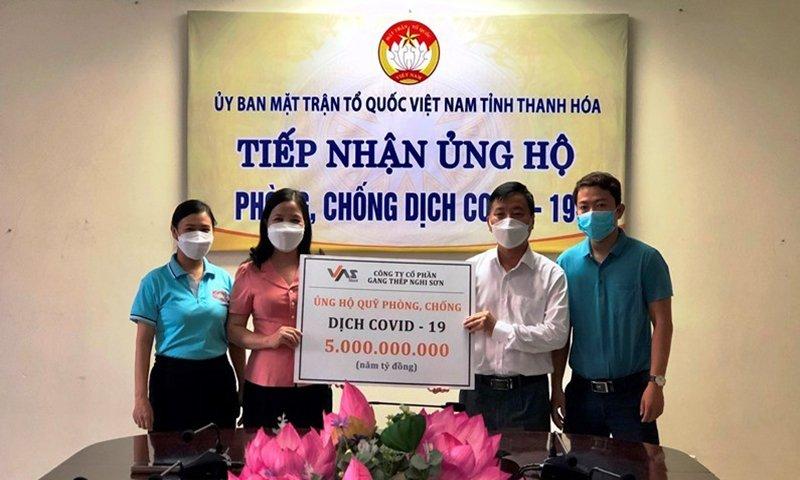 Thép VAS tiếp tục ủng hộ tỉnh Thanh Hóa trong công tác phòng, chống dịch covid-19